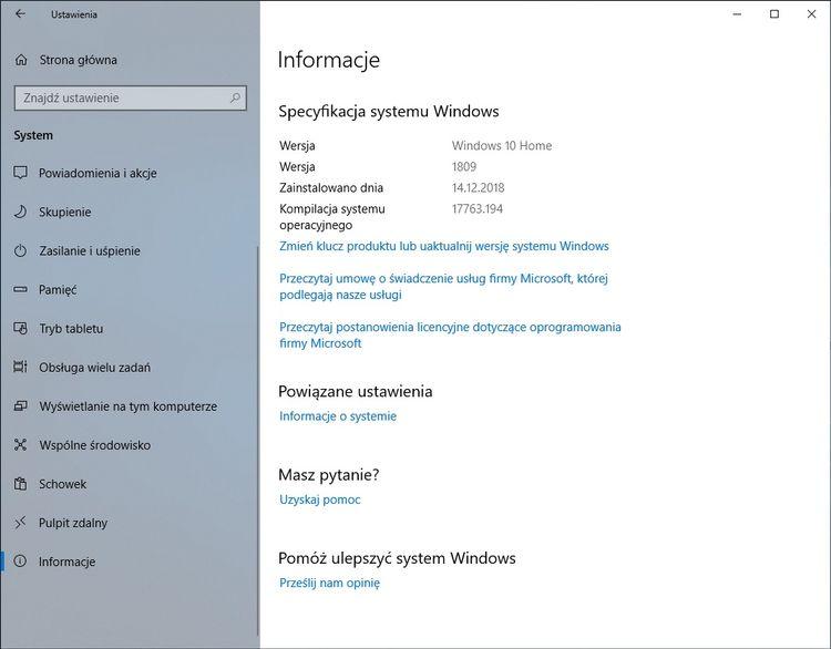 windows 10 informacje o systemie