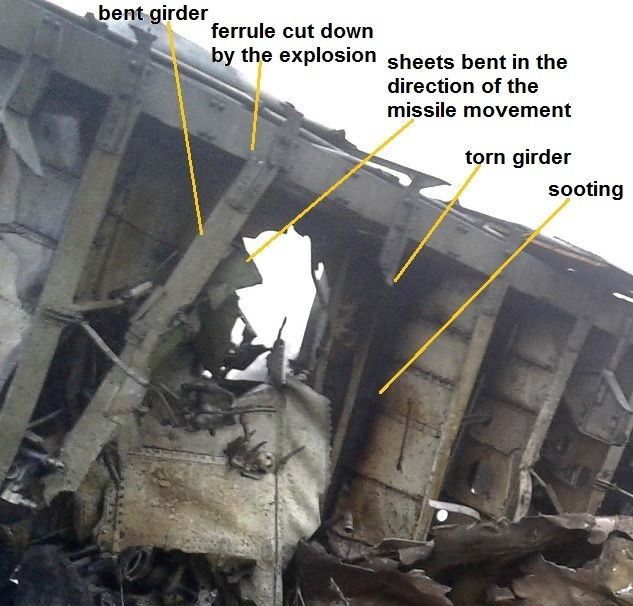 Figure 1a MH17 - forgotten by the DSB hole in the belly of a Boeing.